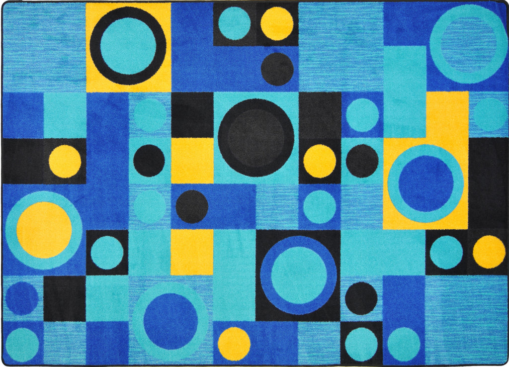 "City Block© Kid's Play Room Rug, 5'4"" x 7'8"" Rectangle Blue"