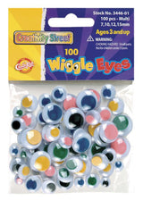 Wiggle Eyes - 100 Pieces - Assorted