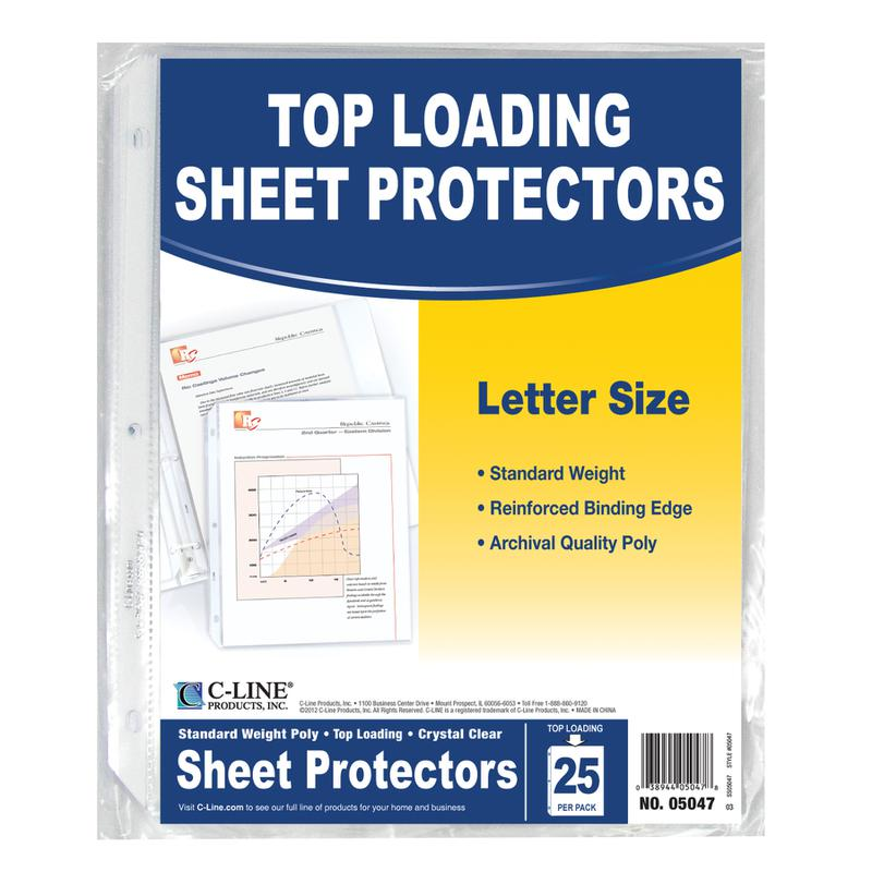 C-Line Crystal Clear 25Pk Standard Weight Sheet Protectors