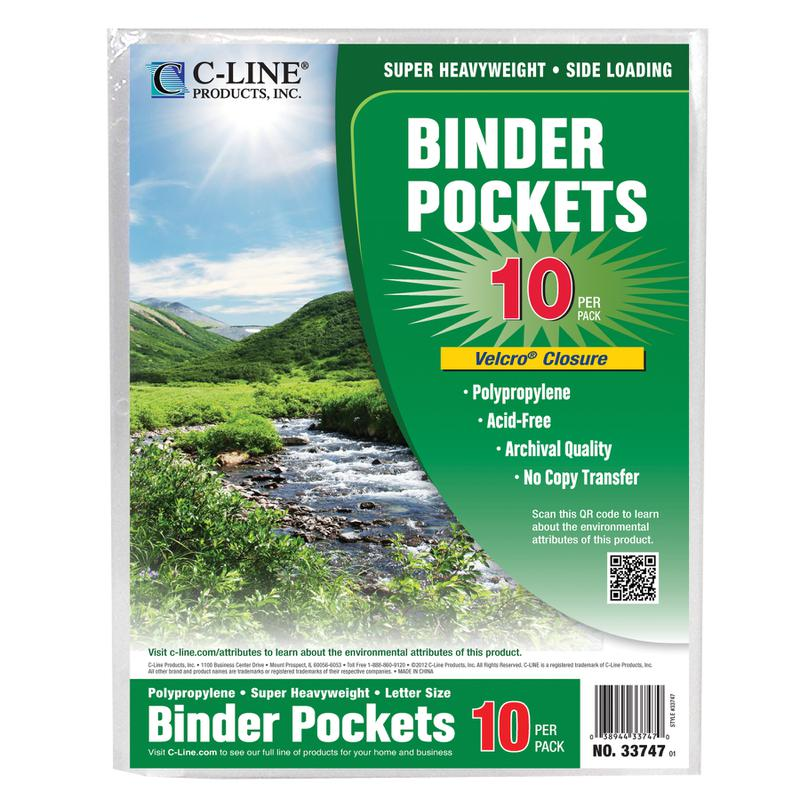 Clear Biodegradable Binder Pocket, 10Pk