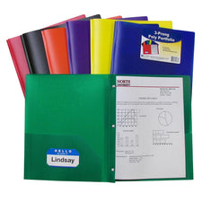 Two Pocket Poly Portfolios, 36 Per Box, Assorted With Prongs