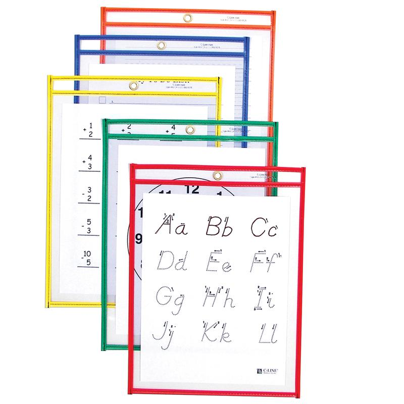 Reusable Dry Erase Pockets, 25 Per Box, Assorted Primary 9 x 12