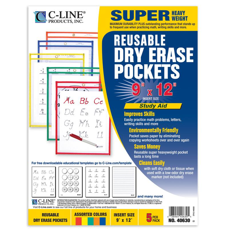 Reusable Dry Erase Pockets, 5 Per Box, Assorted Primary 9 x 12