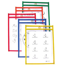 C Line Reusable 10Pk 6 x 9 Dry Erase Pockets Assorted Primary
