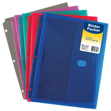 Binder Pocket With Velcro Closure, Assorted Colors