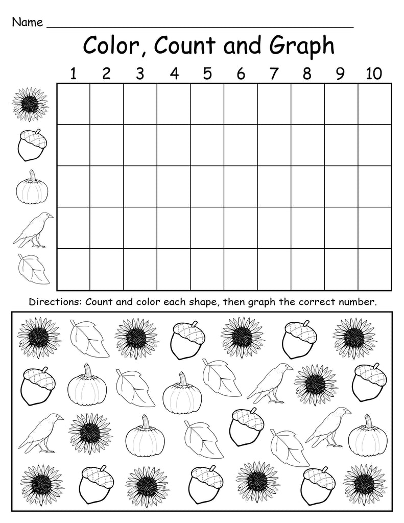 Printable Fall Themed Color, Count and Graph Worksheet