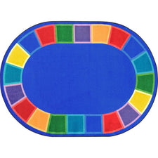 "Color Tones™ Classroom Circle Time Rug, 5'4"" x 7'8"" Oval"