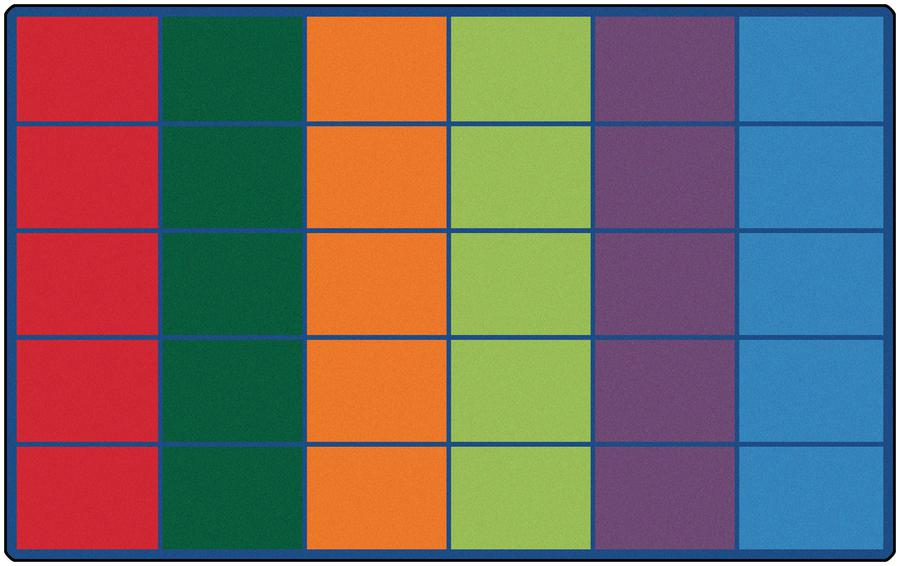 "Colorful Rows Seating Rug (Seats 30), 8'4"" x 13'4"" Rectangle"