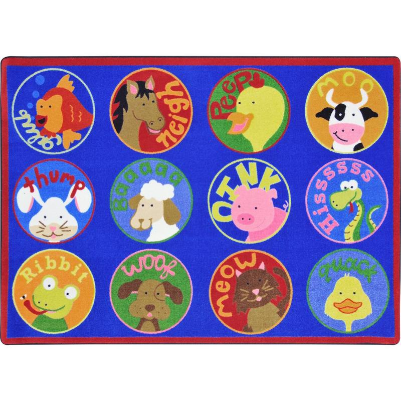 "Creature Calls™ Classroom Circle Time & Seating Rug, 7'8"" x 10'9"" Rectangle"