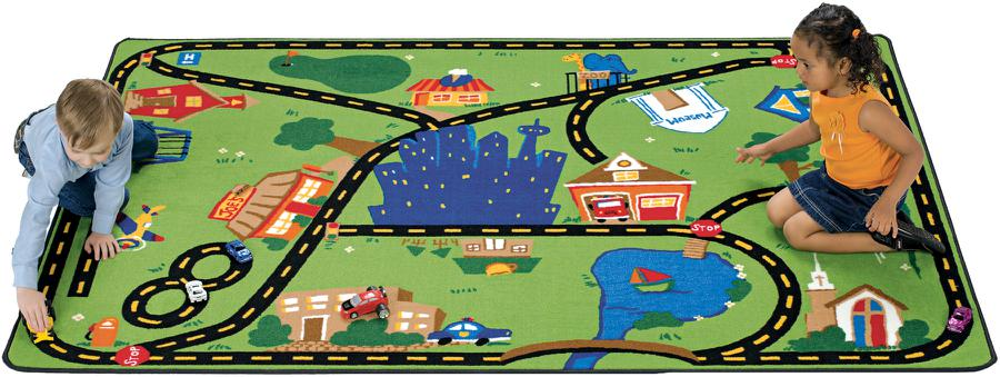 Cruisin' Around the Town Road Play Room Rug, 8' x 12' Rectangle