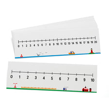 Write-On/Wipe-Off Double-Sided Number Lines (0-10 & 0-20), Set of 10