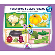 4-in-1 Puzzles: Vegetables & Colors