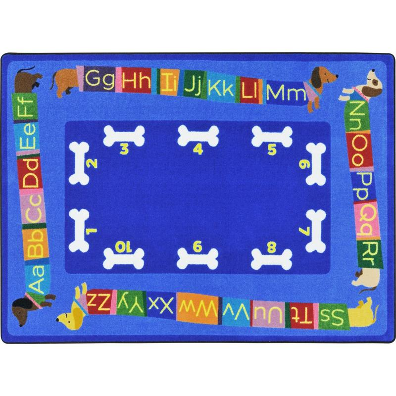 "Doggone Good Alphabet™ Classroom Seating Rug, 7'8"" x 10'9"" Rectangle"