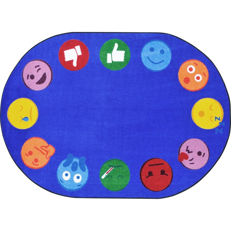 "Emoji Edge™ Classroom Circle Time & Seating Rug, 7'8"" x 10'9"" Oval"