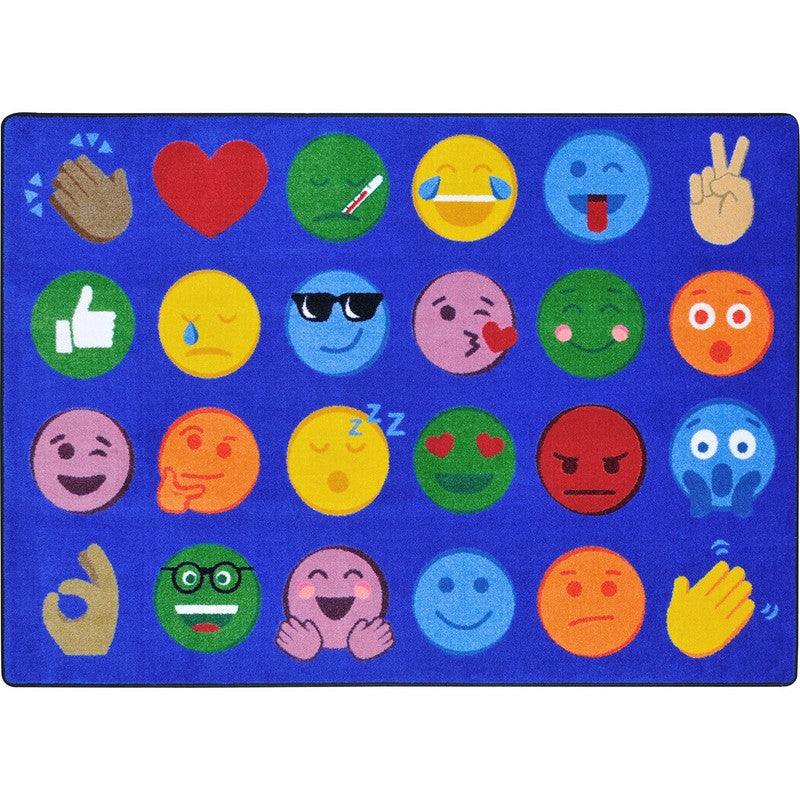 "Emoji Expressions™ Classroom Circle Time & Seating Rug, 7'8"" x 10'9"" Rectangle"