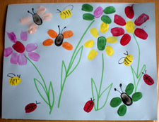 Fingerprint Flowers & Bugs - Early Childhood Art Idea!