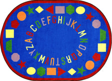 "First Lessons© Alphabet & Numbers Classroom Rug, 7'7""  Round Blue"