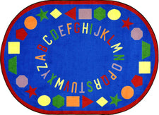 "First Lessons© Alphabet & Numbers Classroom Rug, 5'4"" x 7'8""  Oval Blue"