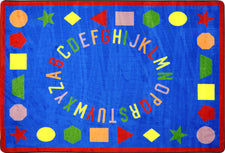 "First Lessons© Alphabet & Numbers Classroom Rug, 5'4"" x 7'8"" Rectangle Blue"