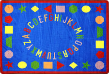 "First Lessons© Alphabet & Numbers Classroom Rug, 3'10"" x 5'4"" Rectangle Blue"