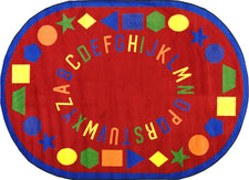 "First Lessons© Alphabet & Numbers Classroom Rug, 7'7""  Round Red"