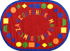 "First Lessons© Alphabet & Numbers Classroom Rug, 5'4"" x 7'8""  Oval Red"
