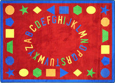 "First Lessons© Alphabet & Numbers Classroom Rug, 5'4"" x 7'8"" Rectangle Red"