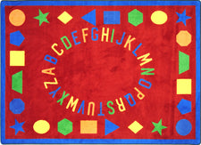 "First Lessons© Classroom Circle Time Rug, 7'8"" x 10'9"" Rectangle Red"