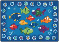Fishing for Literacy Alphabet & Numbers Classroom Circle Time Rug, 6' x 9' Rectangle