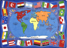 "Flags of the World© Classroom Rug, 5'4"" x 7'8"" Rectangle"