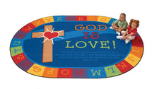 God is Love Learning KID$ Value PLUS Discount Circle Time Rug, 6' x 9' Oval