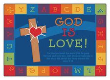 God is Love Learning KID$ Value PLUS Discount Circle Time Rug, 6' x 9' Rectangle