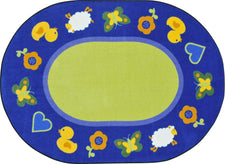 "Green Space™ Classroom Carpet, 3'10"" x 5'4"" Oval"