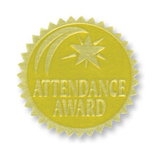 Gold Embossed Certificate Seals, Attendance Award