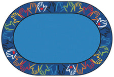 Hands Together Border Classroom Rug, 8' x 12' Oval