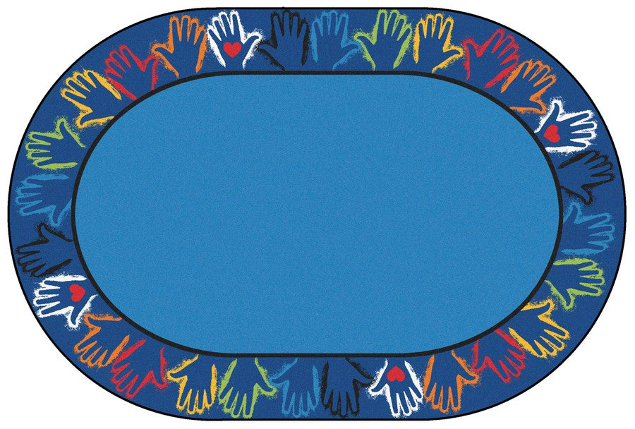 Hands Together Border Classroom Rug, 6' x 9' Oval