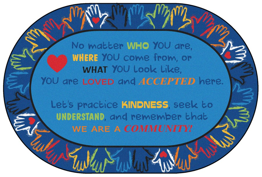 Hands Together Community Classroom Rug, 8' x 12' Oval