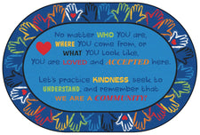 Hands Together Community Classroom Rug, 6' x 9' Oval
