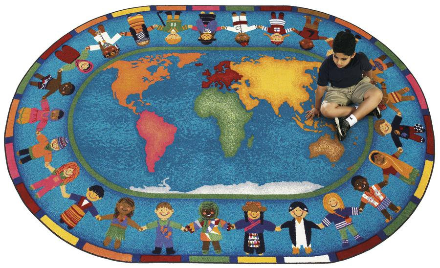 "Hands Around the World© Classroom Rug, 7'8"" x 10'9""  Oval"