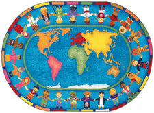 "Hands Around the World© Classroom Rug, 5'4"" x 7'8""  Oval"