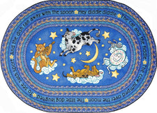 "Hey Diddle Diddle© Kid's Play Room Rug, 5'4""  Round Blue"