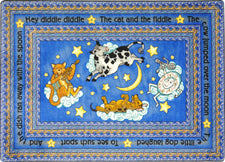 "Hey Diddle Diddle© Kid's Play Room Rug, 3'10"" x 5'4"" Rectangle Blue"