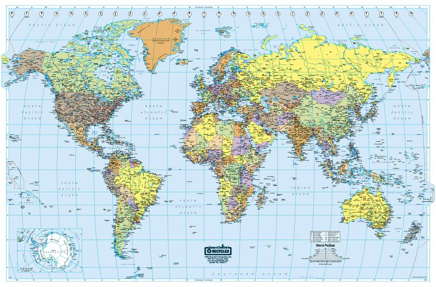 U.S. & World Maps: Laminated World Map 38 x 25