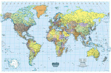 U.S. & World Maps Laminated World Map 50 x 33