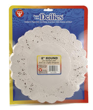 "Round Paper Lace Doilies, 8"" White"