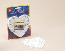 "Heart Paper Lace Doilies, 6"" White"