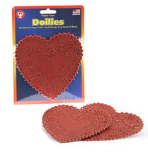 "Heart Paper Lace Doilies, 6"" Red"
