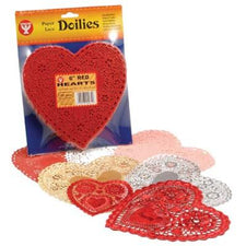 "Heart Paper Lace Doilies, 6"" Pink"