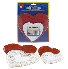Heart Paper Lace Doilies, Red & White