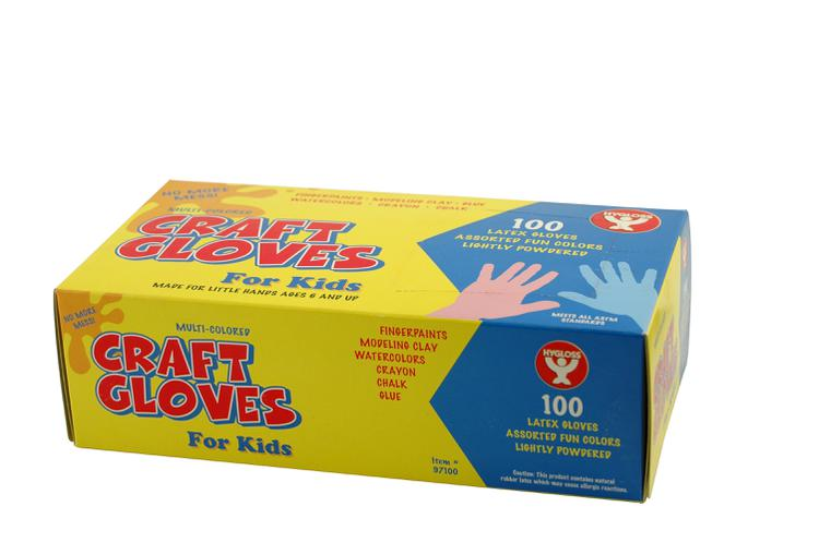 Colored Craft Gloves, 100 Kids Size